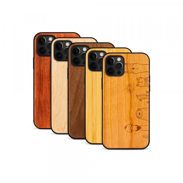 iPhone 12 Pro Max Hülle Animal Friends aus Holz
