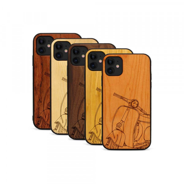 iPhone 11 Hülle Moped Silhoutte aus Holz