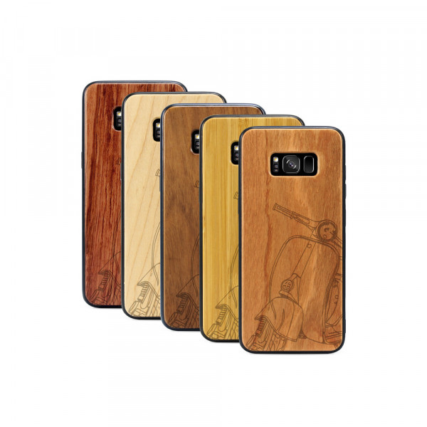 Galaxy S8+ Hülle Moped Silhoutte aus Holz