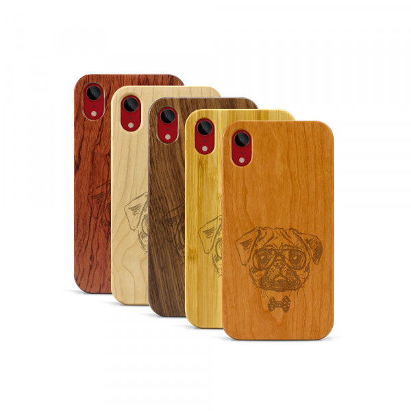 iPhone XR Hülle Fashion Mops aus Holz