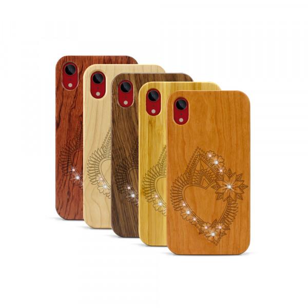 iPhone XR Hülle Herzblume Swarovski® Kristalle aus Holz