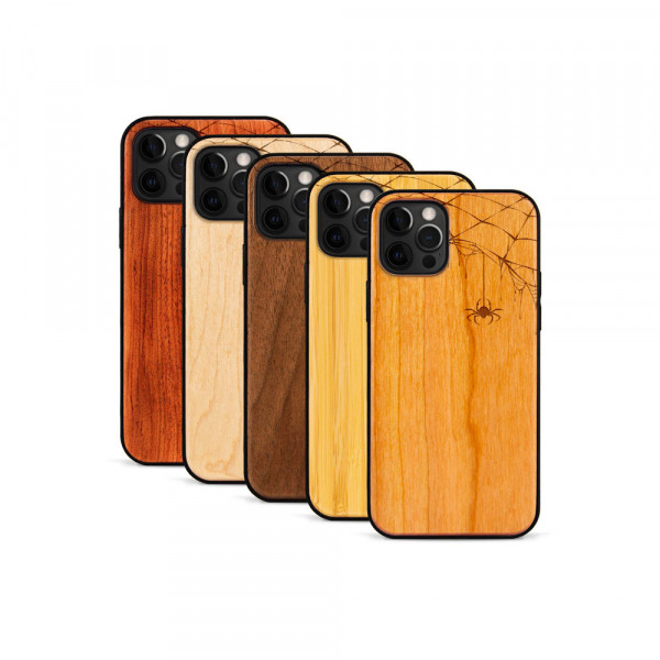 iPhone 12 Pro Max Hülle Spinnennetz aus Holz