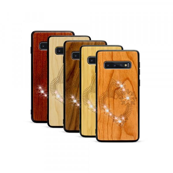 Galaxy S10 Hülle Herzblume Swarovski® Kristalle aus Holz