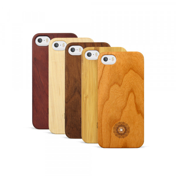 iPhone 5, 5S & SE Hülle Mandala Swarovski® Kristalle aus Holz