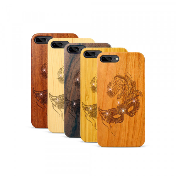 iPhone 7 & 8 Plus Hülle Maskenball Swarovski® Kristalle aus Holz
