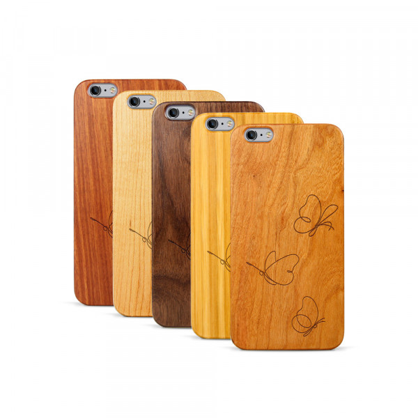 iPhone 6 & 6S Plus Hülle Butterflies aus Holz