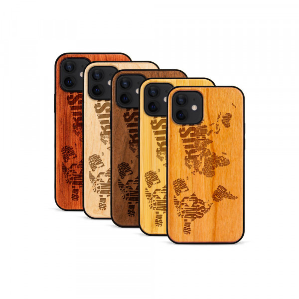 iPhone 12 & 12 Pro Hülle Ländernamen Weltkarte aus Holz