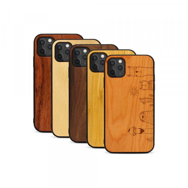 iPhone 11 Pro Max Hülle Animal Friends aus Holz