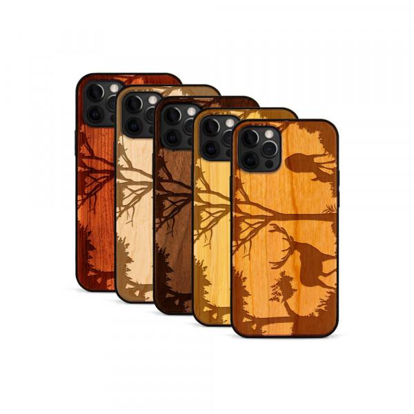 iPhone 12 Pro Max Hülle Wildlife Hirsch aus Holz