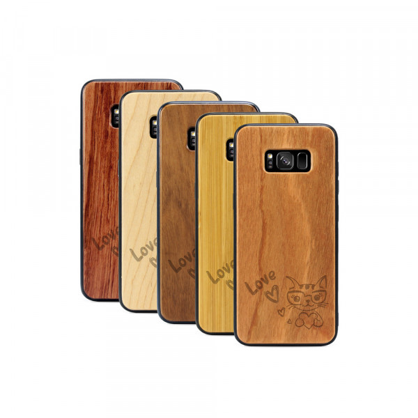 Galaxy S8 Hülle Cat Love aus Holz