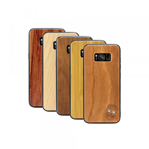 Galaxy S8 Hülle Totenkopf Swarovski® Kristalle aus Holz