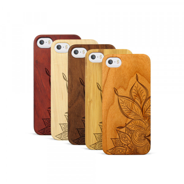 iPhone 5, 5S & SE Hülle Mandala aus Holz