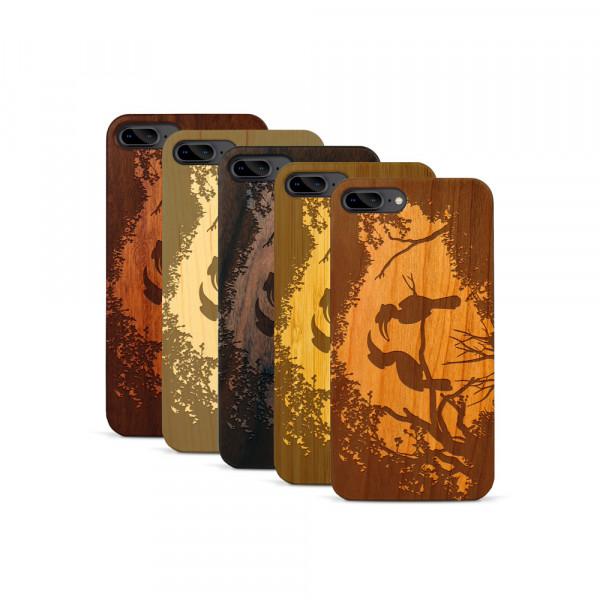 iPhone 7 & 8 Plus Hülle Wildlife Paradiesvögel aus Holz