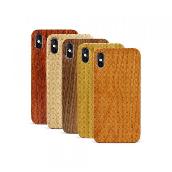 iPhone XS Max Hülle Totenkopf Pattern aus Holz