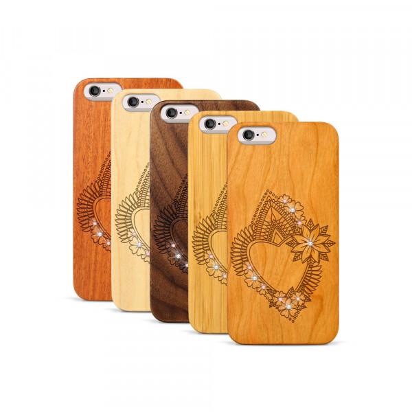 iPhone 6 & 6S Hülle Herzblume Swarovski® Kristalle aus Holz