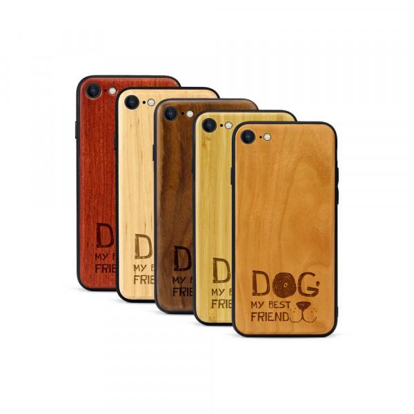 iPhone 8 & SE Hülle Dog best friend aus Holz