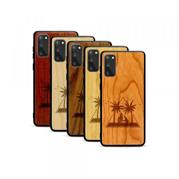 Galaxy S20 Hülle Palmen und Meer aus Holz