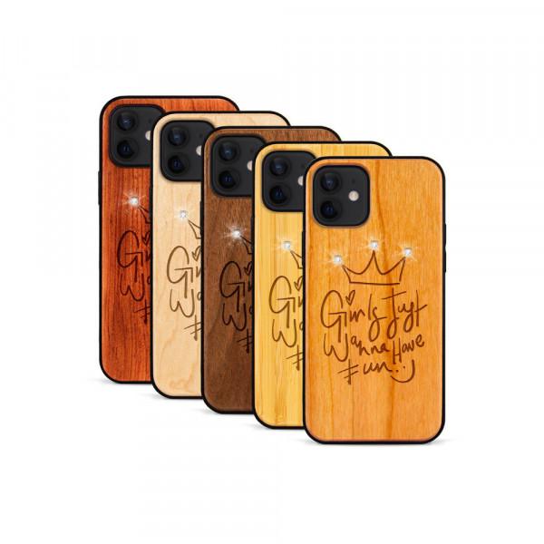 iPhone 12 & 12 Pro Hülle Girls wanna have fun Swarovski® Kristalle aus Holz