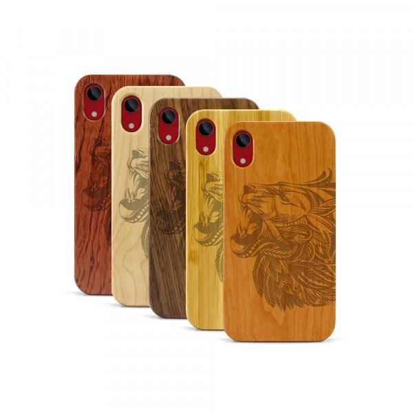 iPhone XR Hülle Löwenkopf aus Holz