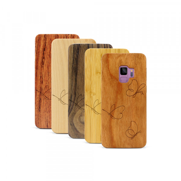 Galaxy S9 Hülle Butterflies aus Holz