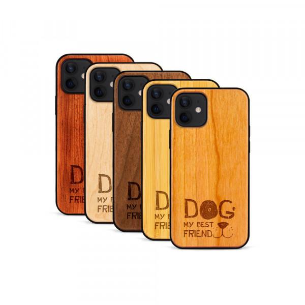 iPhone 12 & 12 Pro Hülle Dog best friend aus Holz