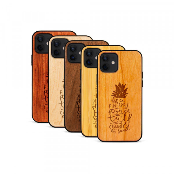iPhone 12 Mini Hülle Be a Pineapple aus Holz