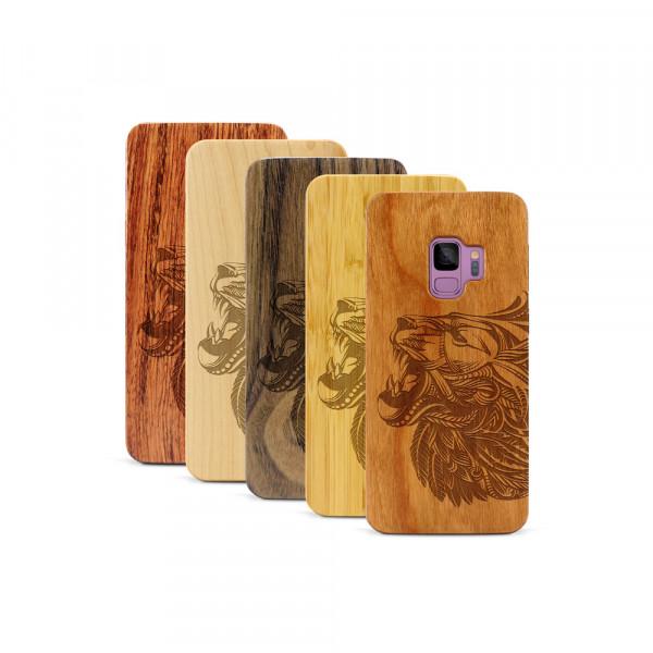 Galaxy S9 Hülle Löwenkopf aus Holz