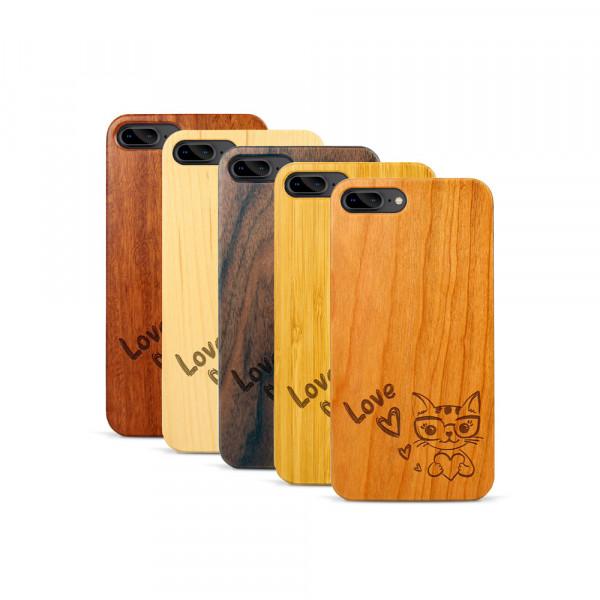 iPhone 7 & 8 Plus Hülle Cat Love aus Holz