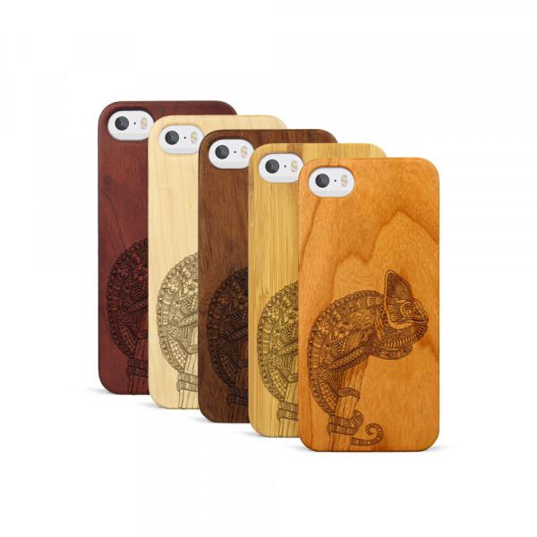 iPhone 5, 5S & SE Hülle Chamäleon aus Holz