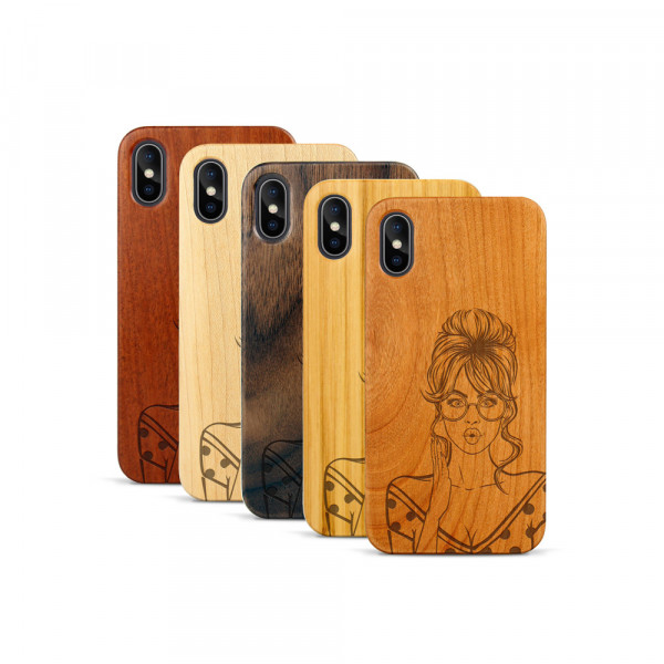 iPhone X & Xs Hülle Pop Art - Surprised aus Holz
