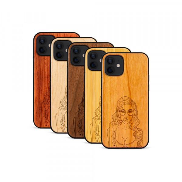 iPhone 12 & 12 Pro Hülle Lolli Pop Art aus Holz