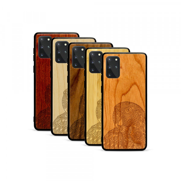 Galaxy S20+ Hülle Papagei aus Holz