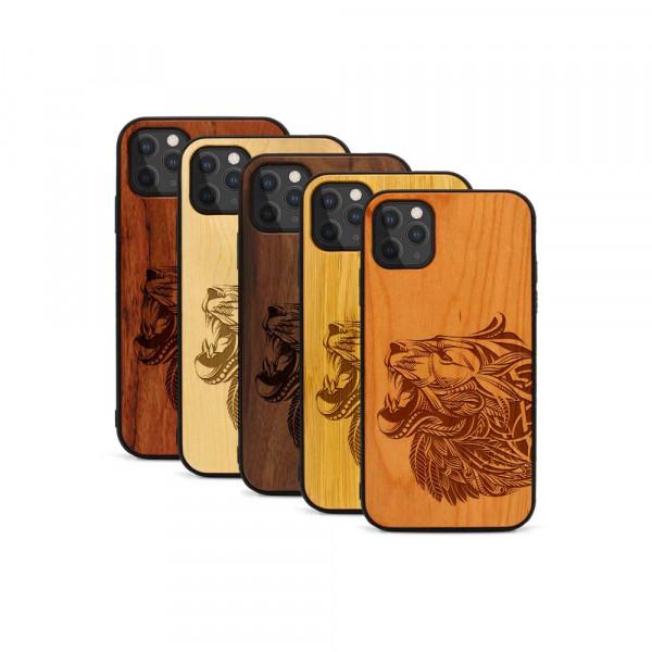 iPhone 11 Pro Max Hülle Löwenkopf aus Holz