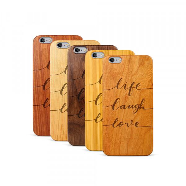 iPhone 6 & 6S Plus Hülle Life Laugh Love aus Holz