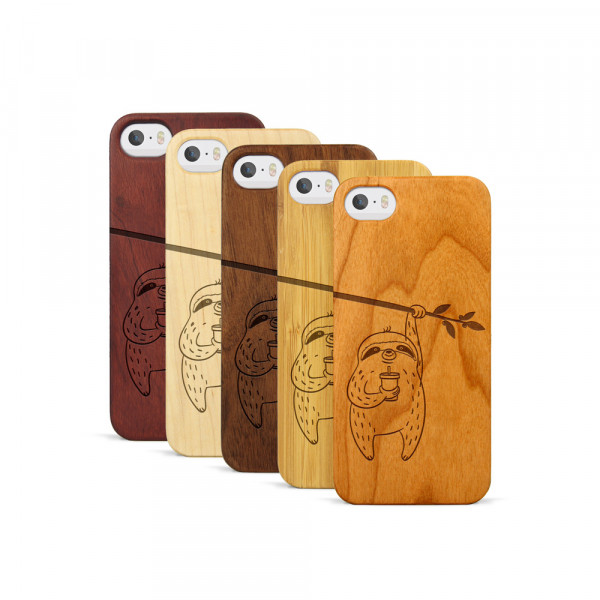 iPhone 5, 5S & SE Hülle Faultier aus Holz