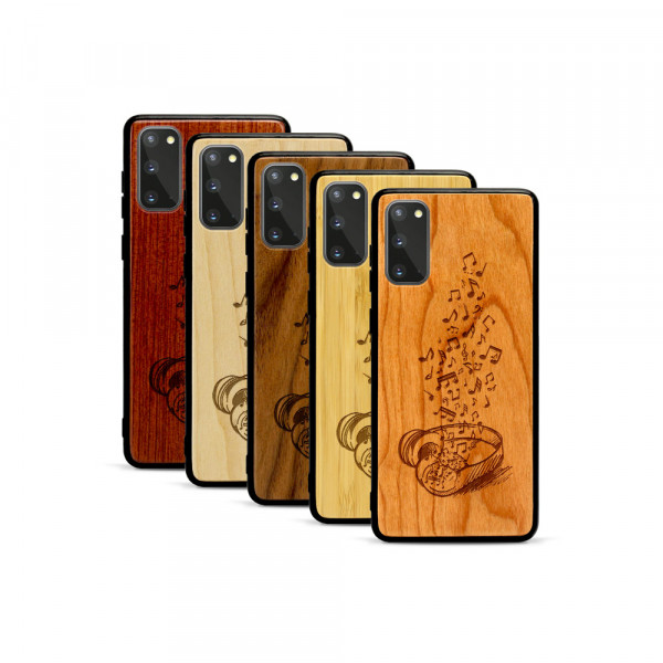 Galaxy S20 Hülle Headphones aus Holz