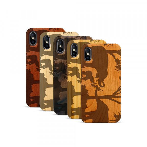 iPhone X & Xs Hülle Wildlife Elefantenfamilie aus Holz