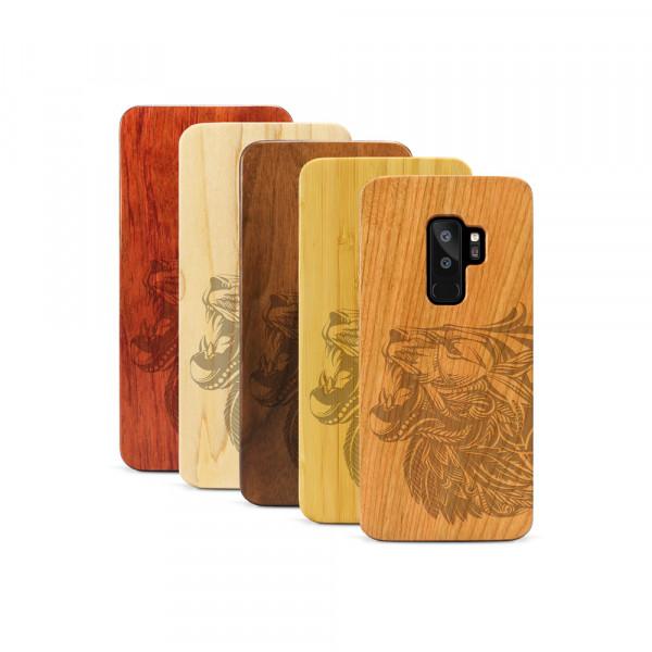 Galaxy S9+ Hülle Löwenkopf aus Holz