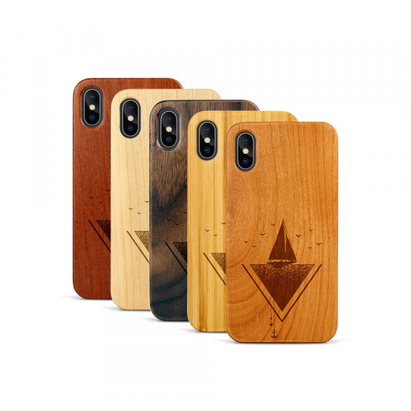 iPhone X & Xs Hülle Segelboot aus Holz