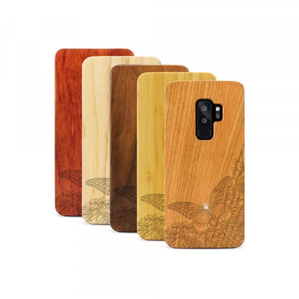 Galaxy S9+ Hülle Schmetterling Swarovski® Kristalle aus Holz