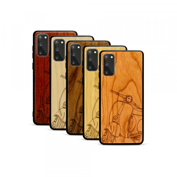 Galaxy S20 Hülle Moped Silhoutte aus Holz