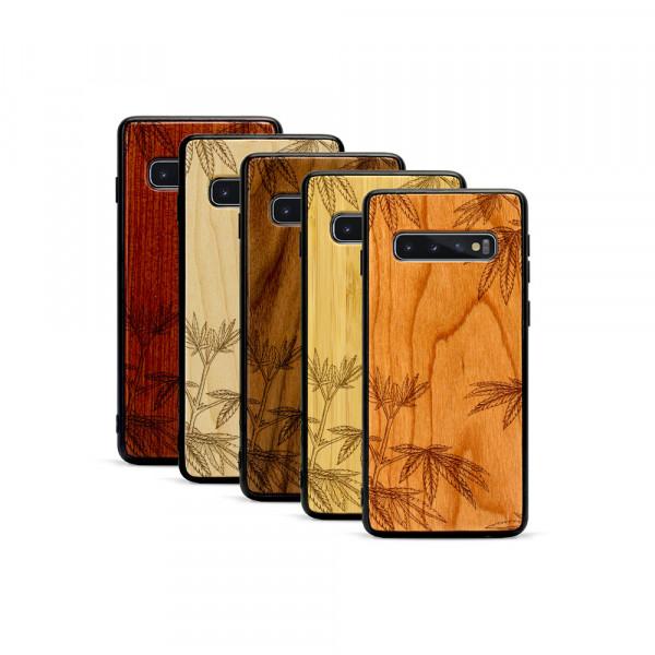 Galaxy S10+ Hülle Hanfpflanze aus Holz