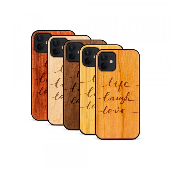iPhone 12 Mini Hülle Life Laugh Love aus Holz