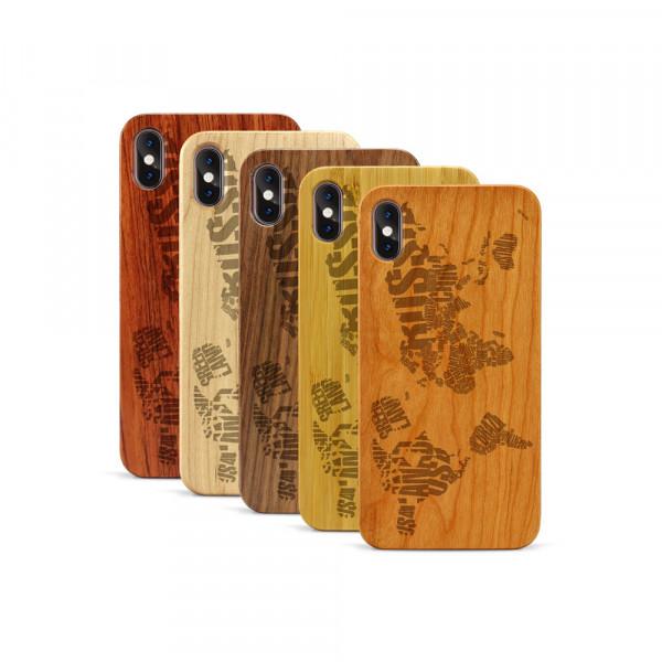 iPhone XS Max Hülle Ländernamen Weltkarte aus Holz