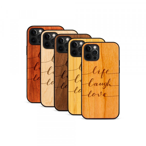 iPhone 12 Pro Max Hülle Life Laugh Love aus Holz