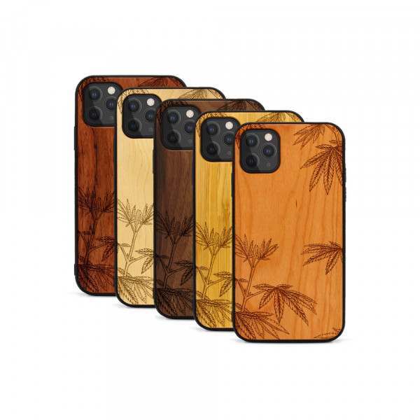 iPhone 11 Pro Max Hülle Hanfpflanze aus Holz