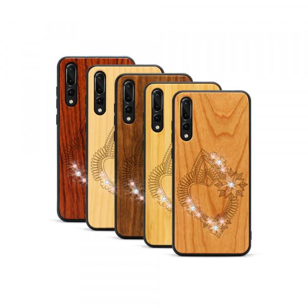 P20 Pro Hülle Herzblume Swarovski® Kristalle aus Holz