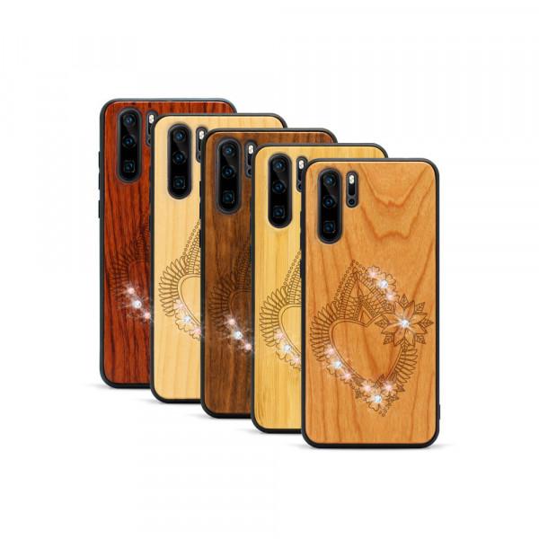 P30 Pro Hülle Herzblume Swarovski® Kristalle aus Holz