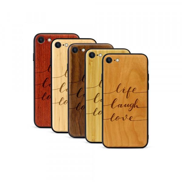 iPhone 8 & SE Hülle Life Laugh Love aus Holz