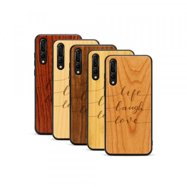 P20 Pro Hülle Life Laugh Love aus Holz